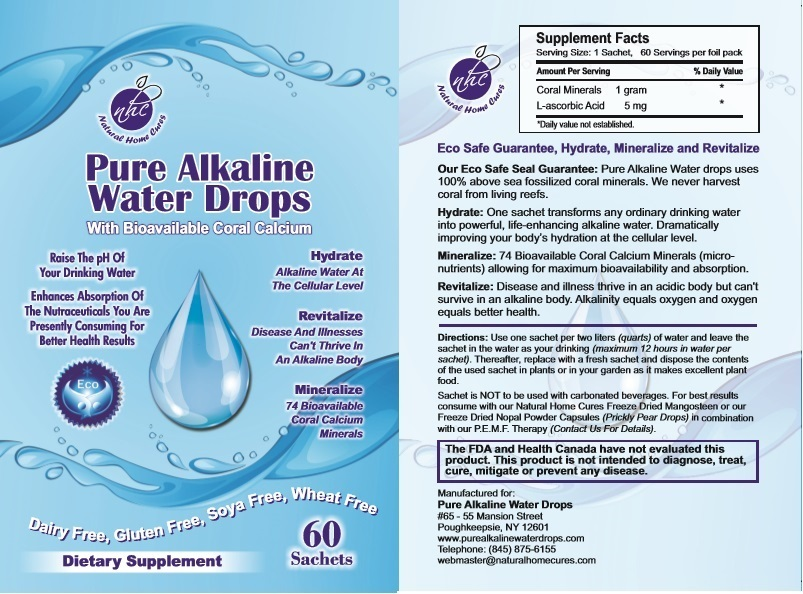 Natural Home Cures Pure Alkaline Water Drops With Bioavailable Coral Calcium Front Back Label